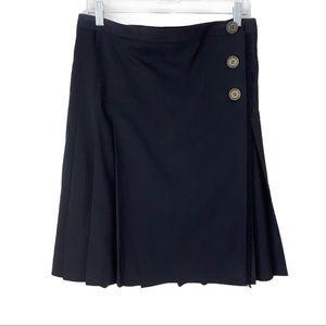 Burberry London wool wrap skirt black with fringe